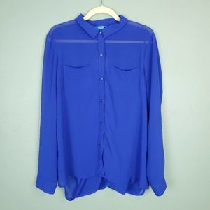 L'AMOUR by Nanette Lepore Button Down Sheer Blouse